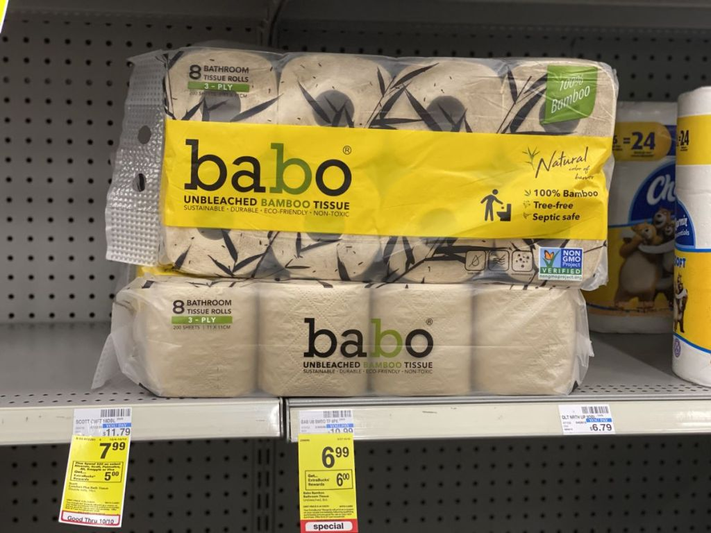 Babo Bamboo Bathroom Tissue on shelf