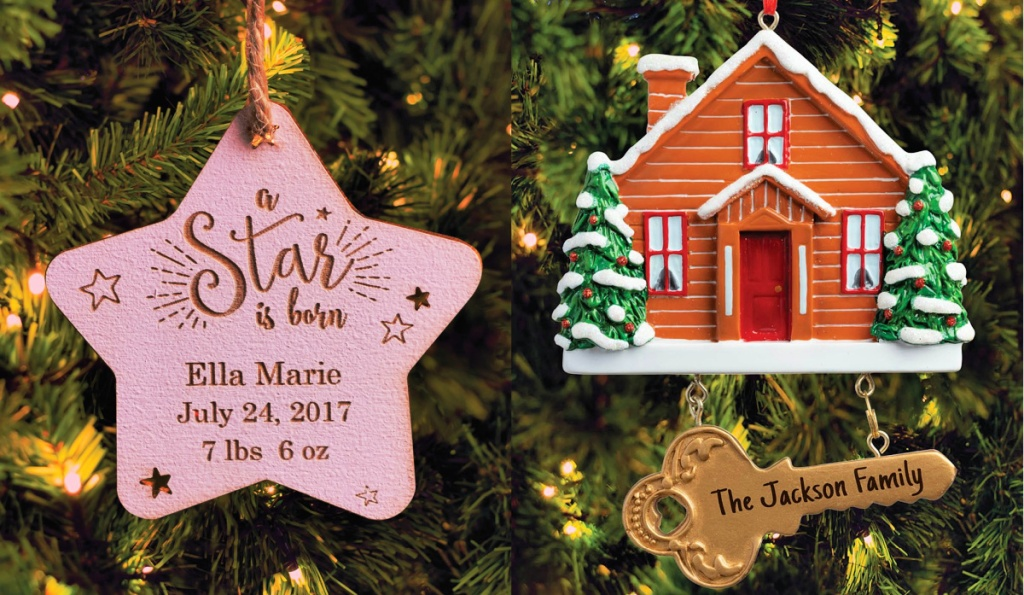 Baby Girl Star and Cabin with Key Personalized Ornaments