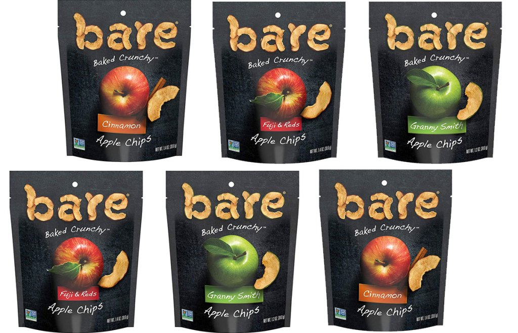 six bags of bare baked apple chips in assorted flavors