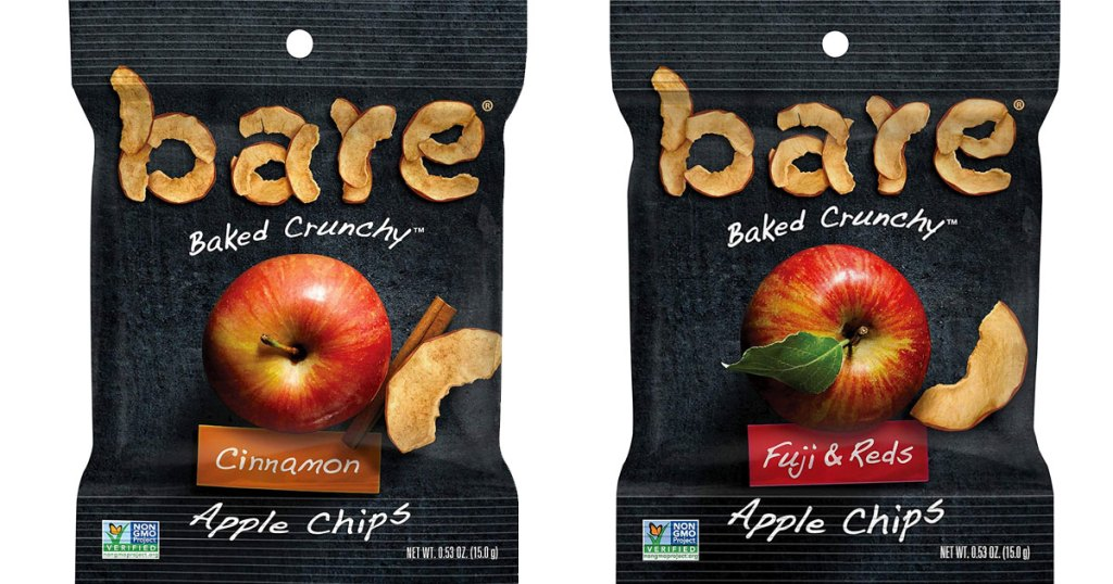 two individual sized bags of bare baked apple chips