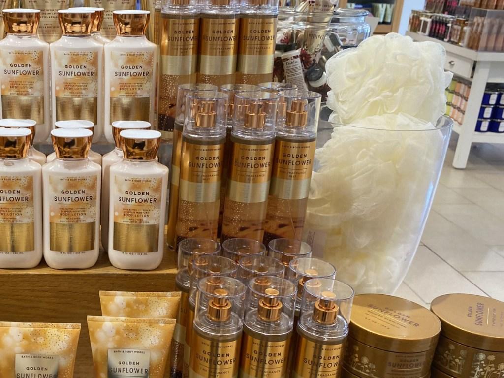 Golden Sunflower Bath & Body Works Fine Fragrance Mist in-store display