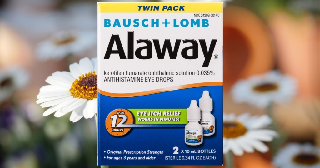 Bausch + Lomb Antihistamine Eye Drops in front of a field of flowers