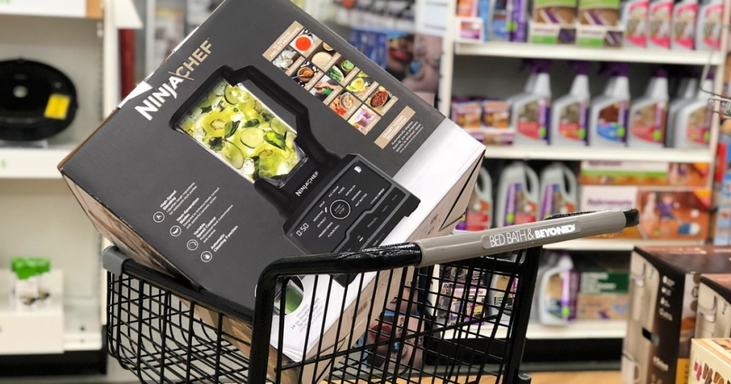 Bed Bath and Beyond shopping cart with ninja blender