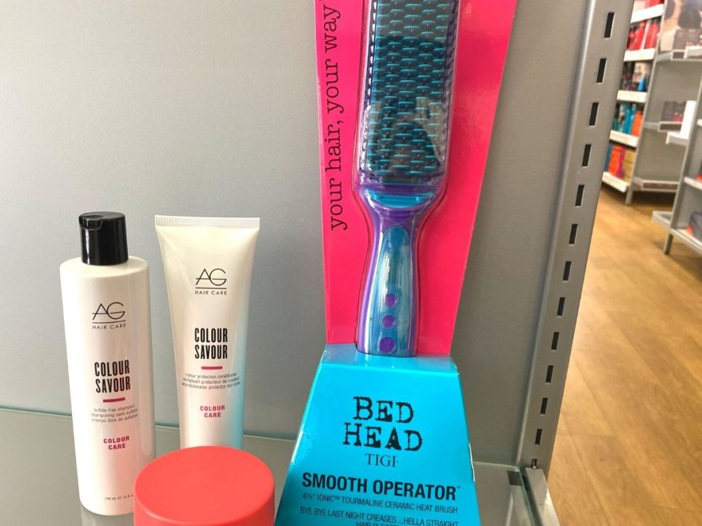 ulta shelf with Bed Head Smooth Operator and hair care products