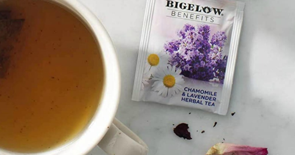 Bigelow chamomile tea with a cup of tea