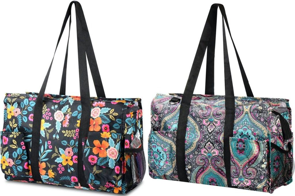 floral tote bag and paisley tote bag