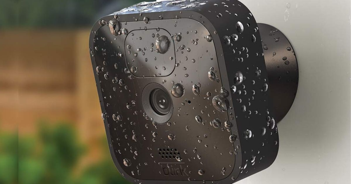 Blink security camera with rain drops on it