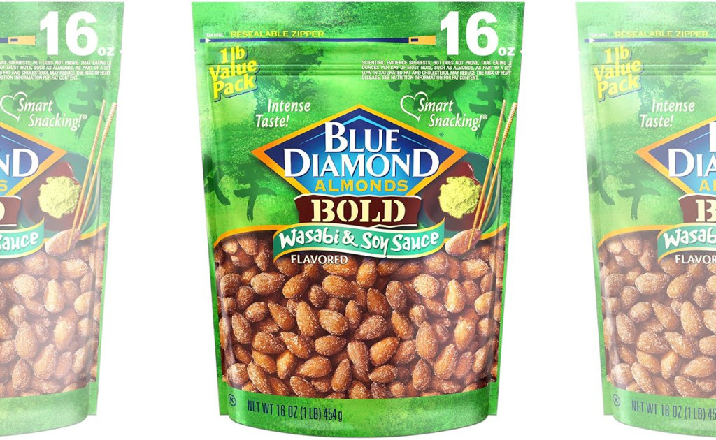 green bags of blue diamond almonds in wasabi soy sauce flavor