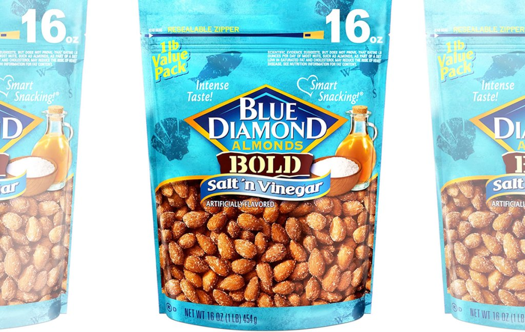 blue bags of blue diamond almonds in salt and vinegar flavor