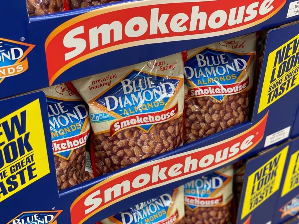 smokehouse blue diamond almonds on display in store
