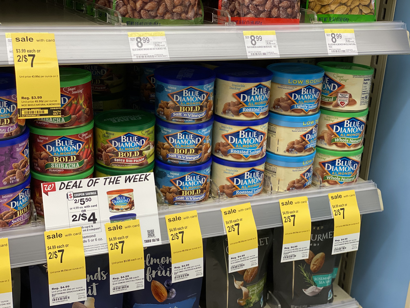 Blue Diamond almond cans on store shelf