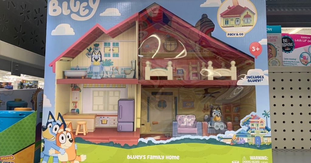 Bluey's Family Home toy set on store shelf