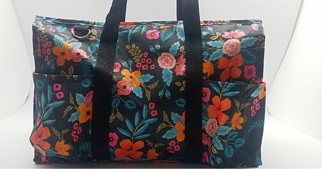 black floral tote bag