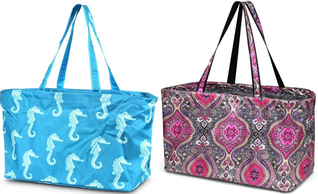 large blue and white seahorse print utility tote and pink paisley utility toe