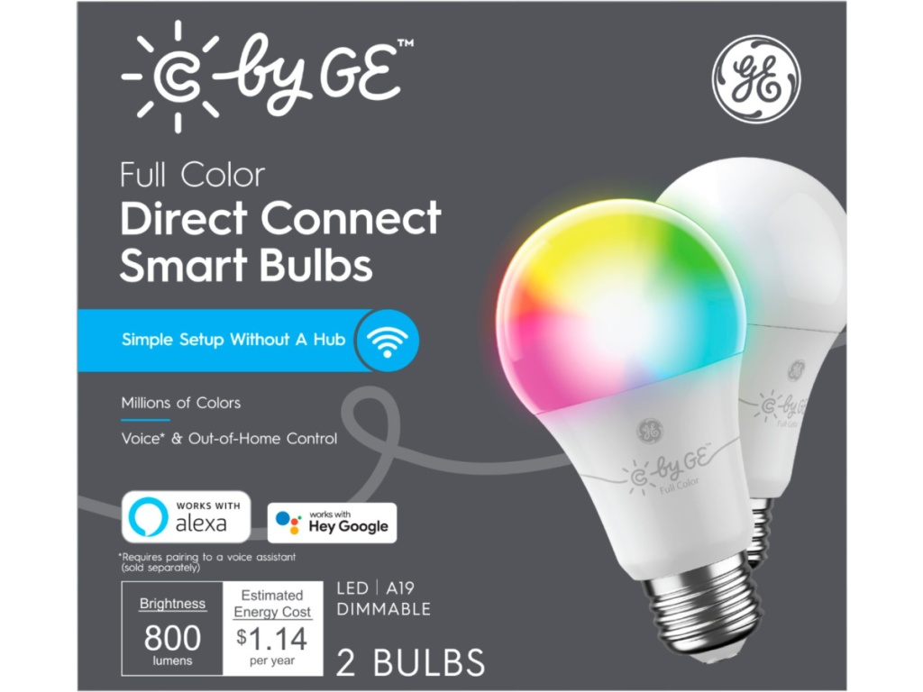 C by GE Direct Connect 2 A19 LED Full Color Changing Light Bulbs