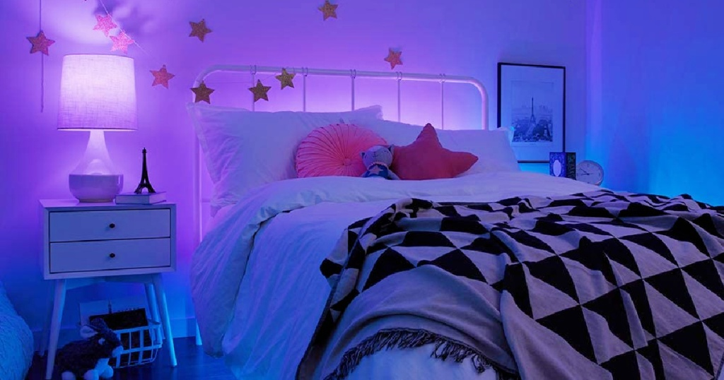 bedrooom with purple lights by C by GE Direct Connect 2 A19 LED Full Color Changing Light Bulbs