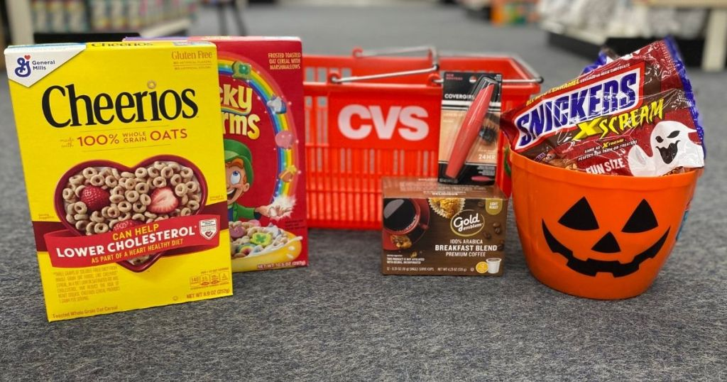 cereal, CVS basket, coffee, candy and a Halloween bucket