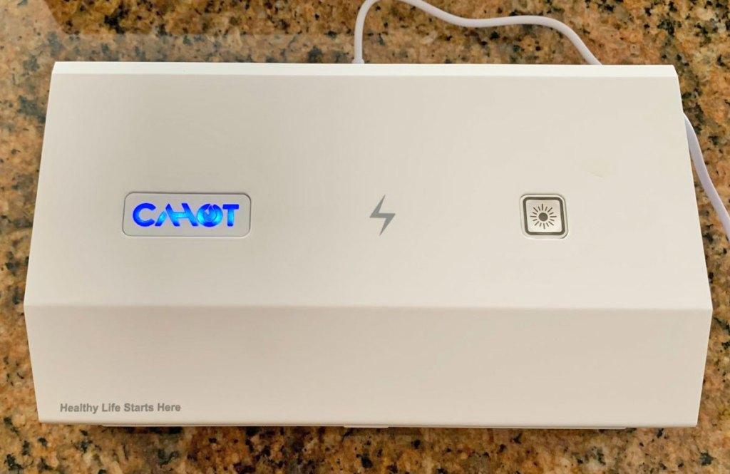white cahot uv sanitizing box on kitchen counter