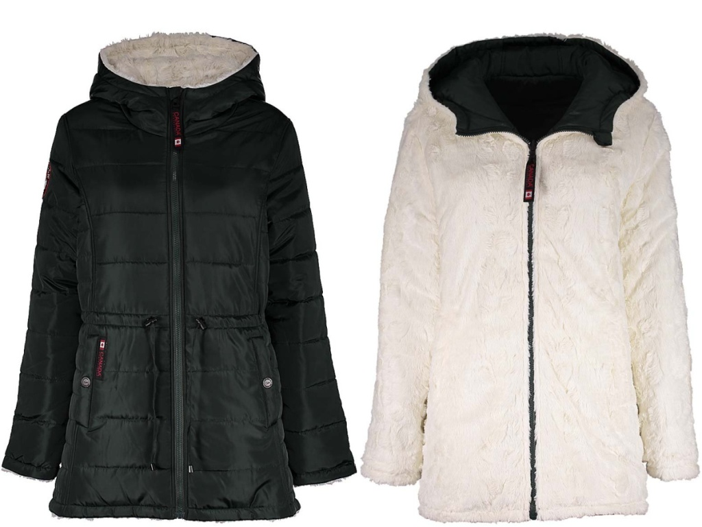 dark green puffer coat and white fuzzy reversible side of puffer coat