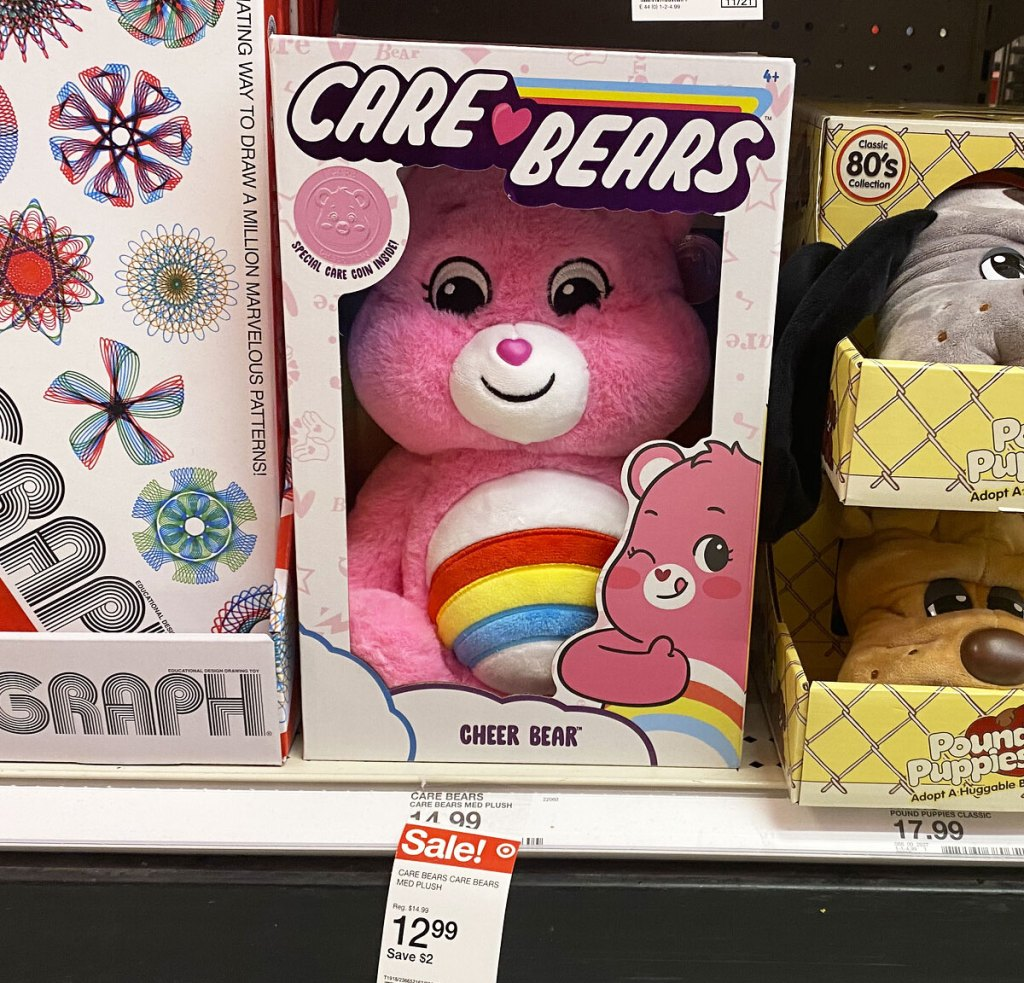 pink care bears plush in retro packaging on target shelf