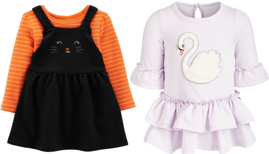Carter's 2-Piece Halloween Bodysuit and Jumper Set and First Impressions Swan Ruffle Dress
