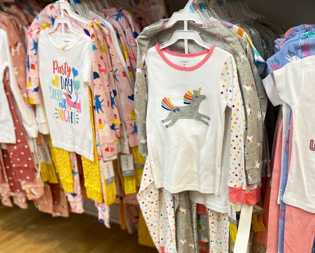 girls carter's pajama sets on hangers