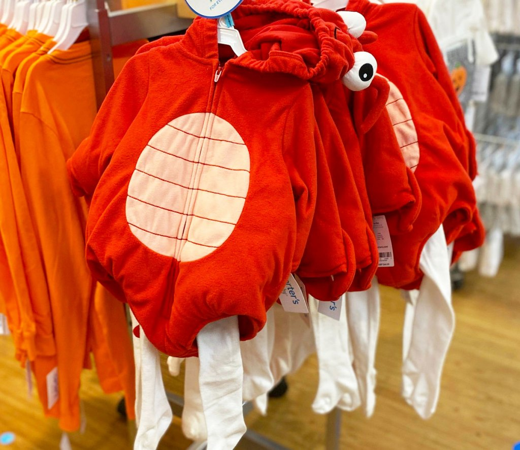 red lobster baby costumes with white leggings