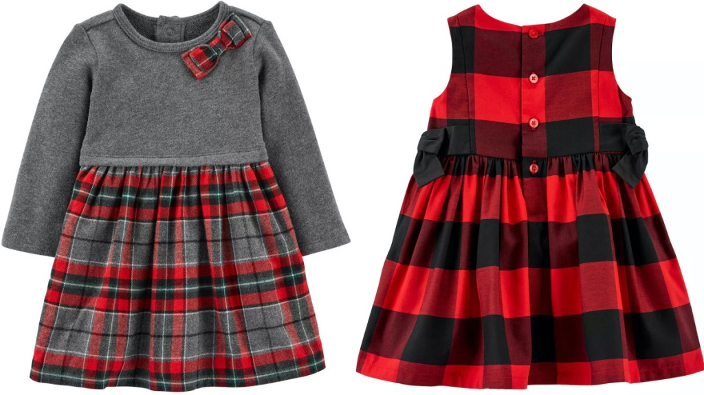 girl gray and red plaid dress and girls red and black plaid dress