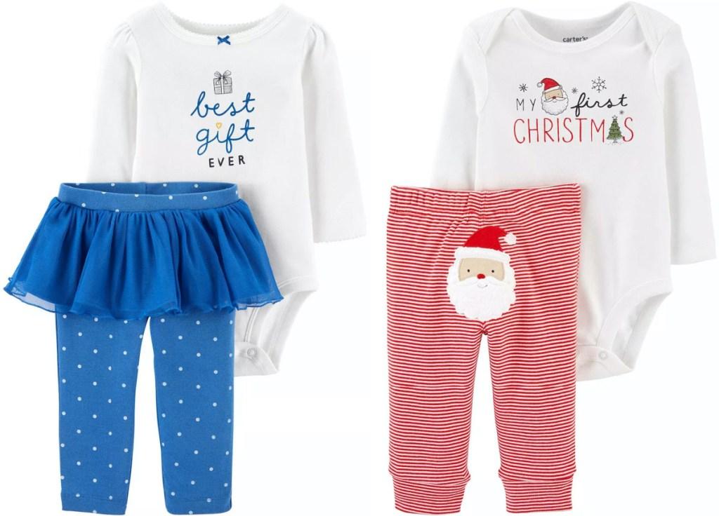 two baby holiday pajama sets