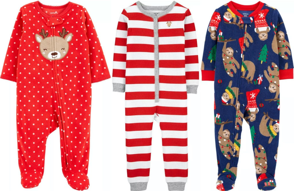 three baby and kids holiday themed footie pajamas
