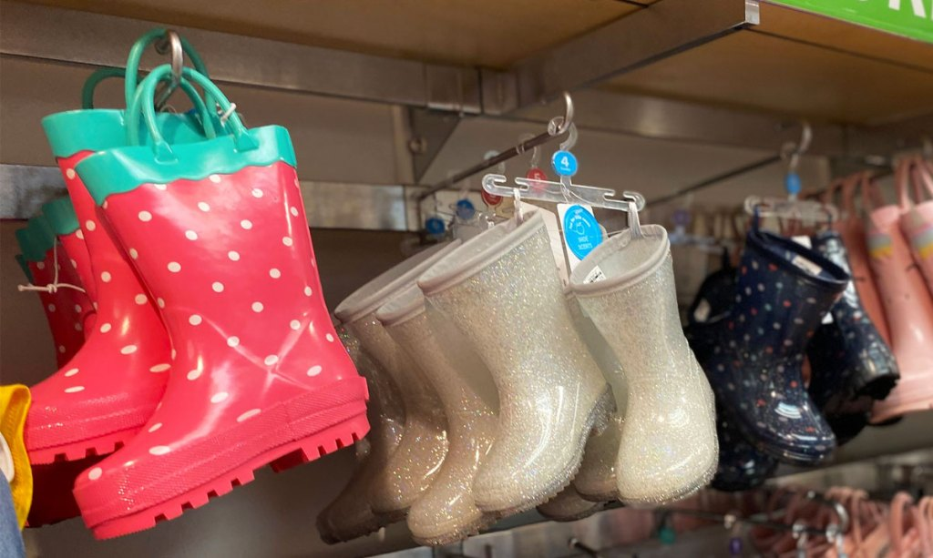 watermelon print and glitter girls rain boots on display at carter's