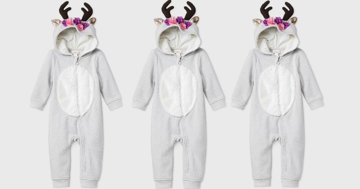 Three cat & jack reindeer themed PJs