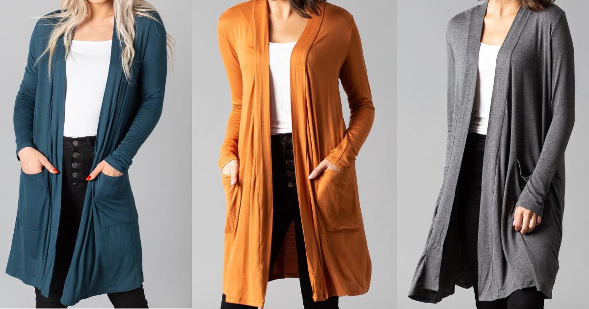 woman in teal blue cardigan, woman in yellow/orange cardigan, woman in gray cardigan