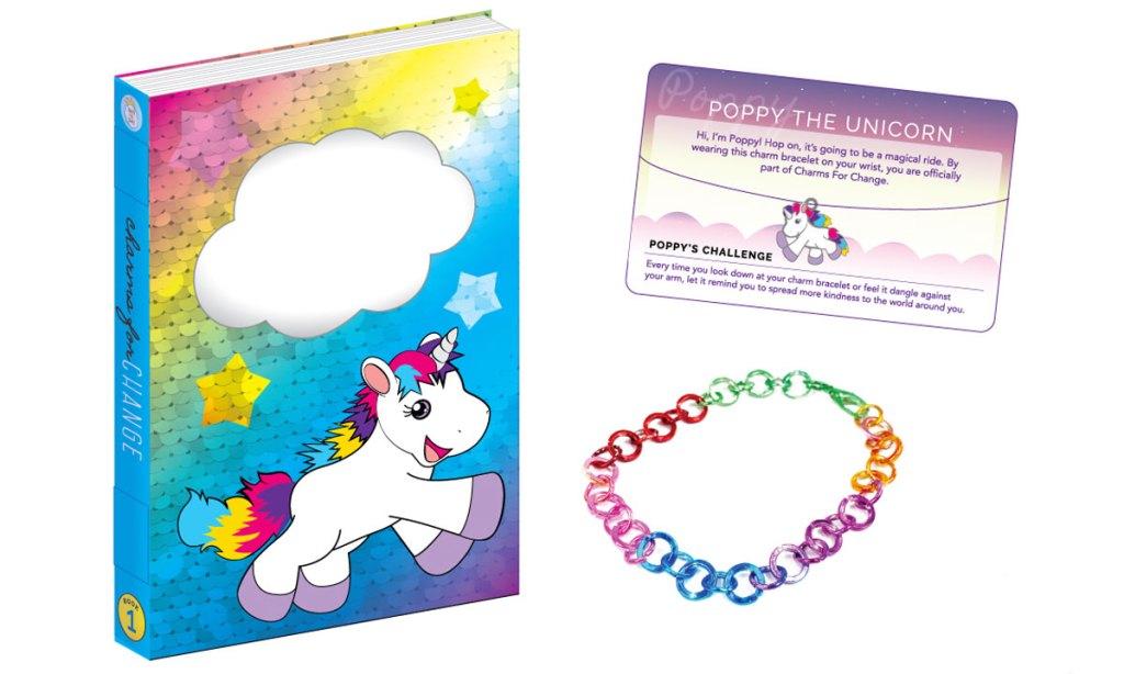 rainbow unicorn journal, unicorn charm, and rainbow charm bracelet