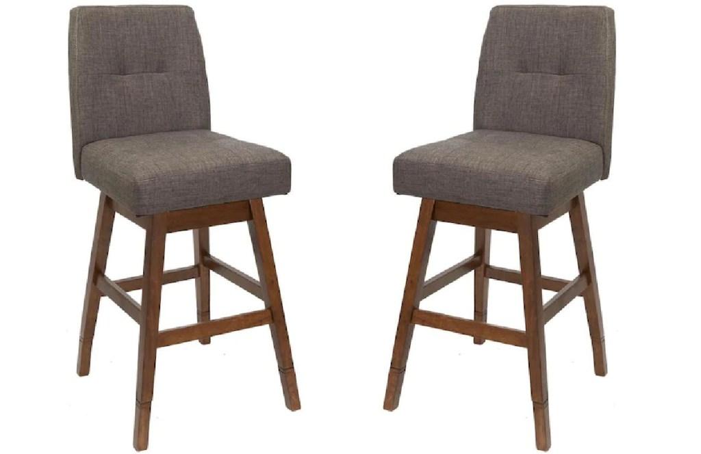 Chestnut Adjustable Upholstered Swivel Bar Stools