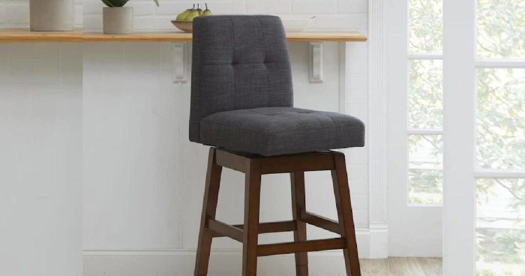 Chestnut Adjustable Upholstered Swivel Bar Stool