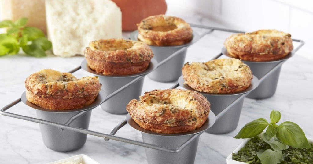 6-count Chicago Metallic Bakeware popover tin with freshly baked popovers