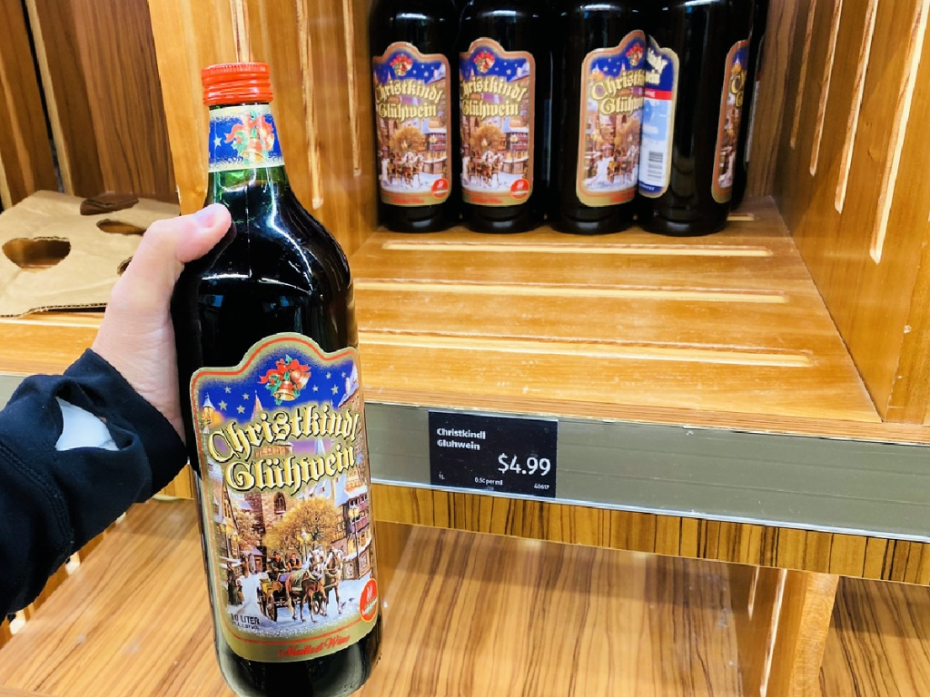 Christkindl Gluhwein Red Spiced Wine in hand at ALDI