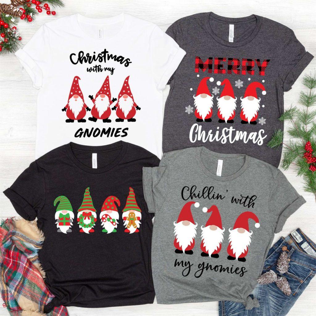 four christmas gnomies shirts