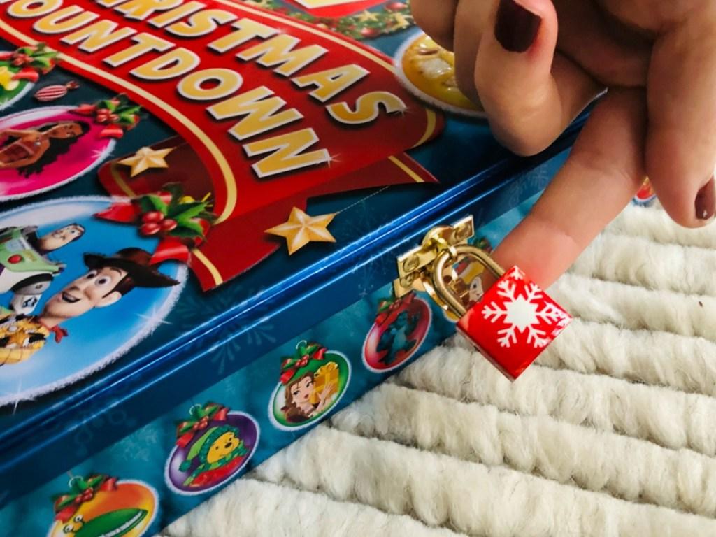 red lock on Christmas tin advent calendar