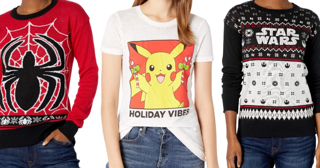 woman in red and black Spiderman sweater, woman in Pokemon Christmas tee, and woman in black and white Star Wars Christmas sweater