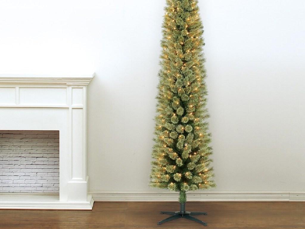 tall skinny lighted christmas tree