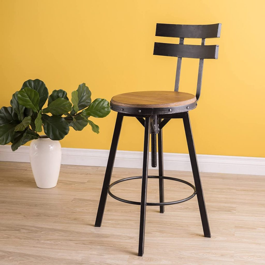 black and brush silver barstool