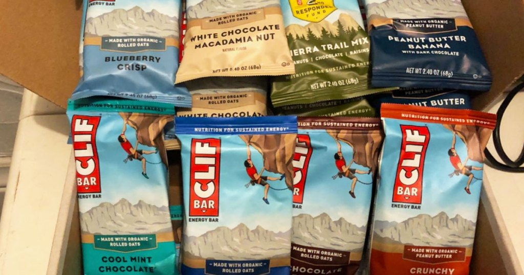 box filled with clif bars in a variety of flavors
