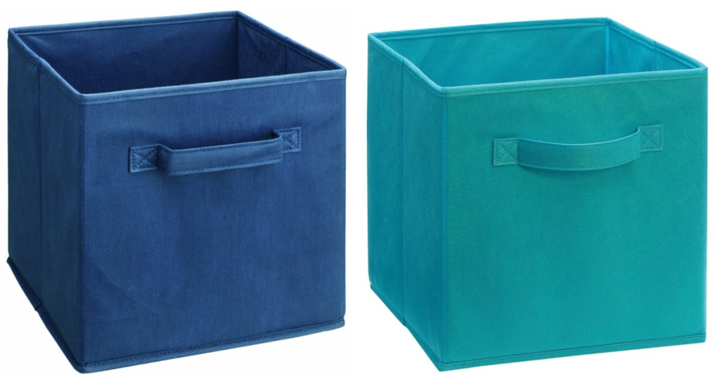 2 blue colored ClosetMaid 5433 Cubeicals Fabric Drawers sitting next to each other