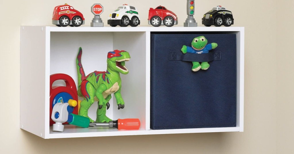 ClosetMaid 5433 Cubeicals Fabric Drawer in a closetmaid 2 cube shelf with toys