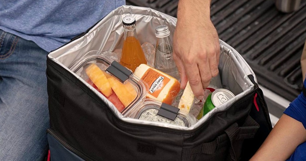 Coleman Cooler stuffed with food and drinks