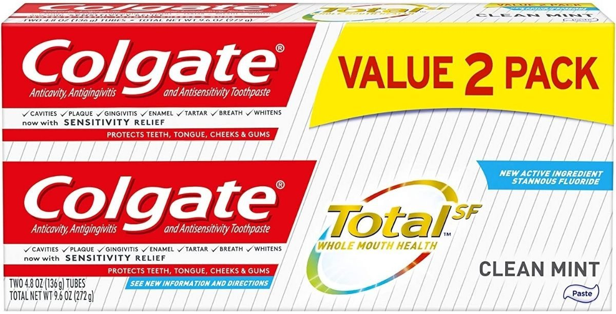 Two pack of colgate total SF toothpaste