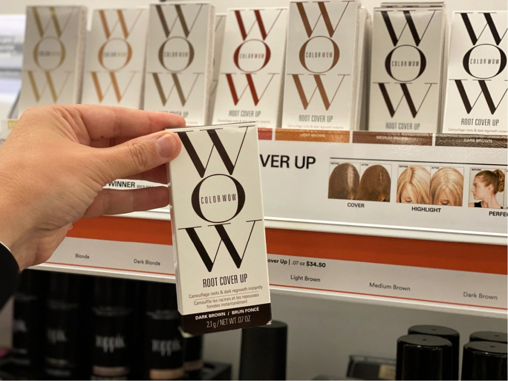 Color WOW Root Cover Up in hand at ULTA