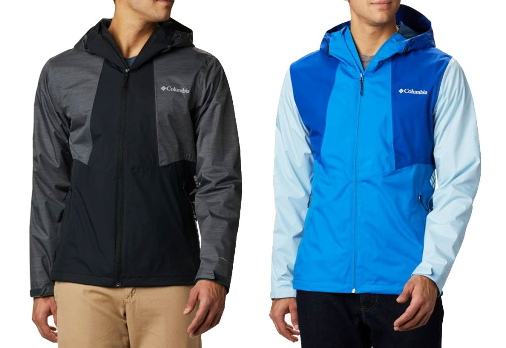 two men modeling two-tone columbia jackets in black and grey and blue with lighter blue